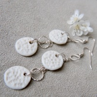 White textured monochromatic  discs -  dangle earrings