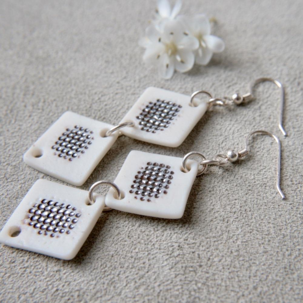 White textured monochromatic  discs -  dangle earrings