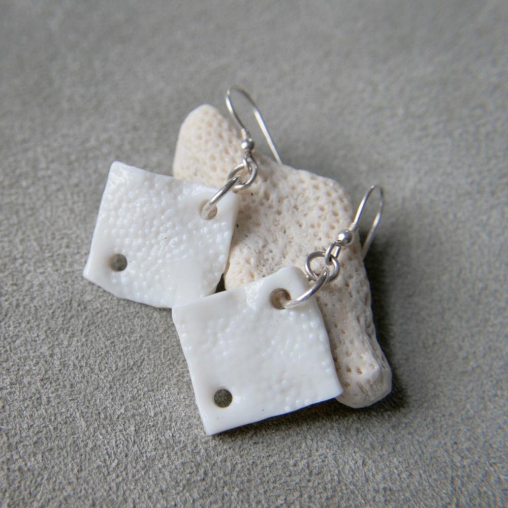 Geometric earrings , white squares II