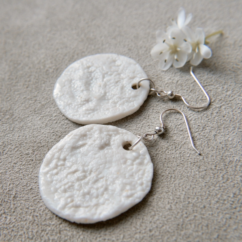 White textured monochromatic  discs -  drop earrings