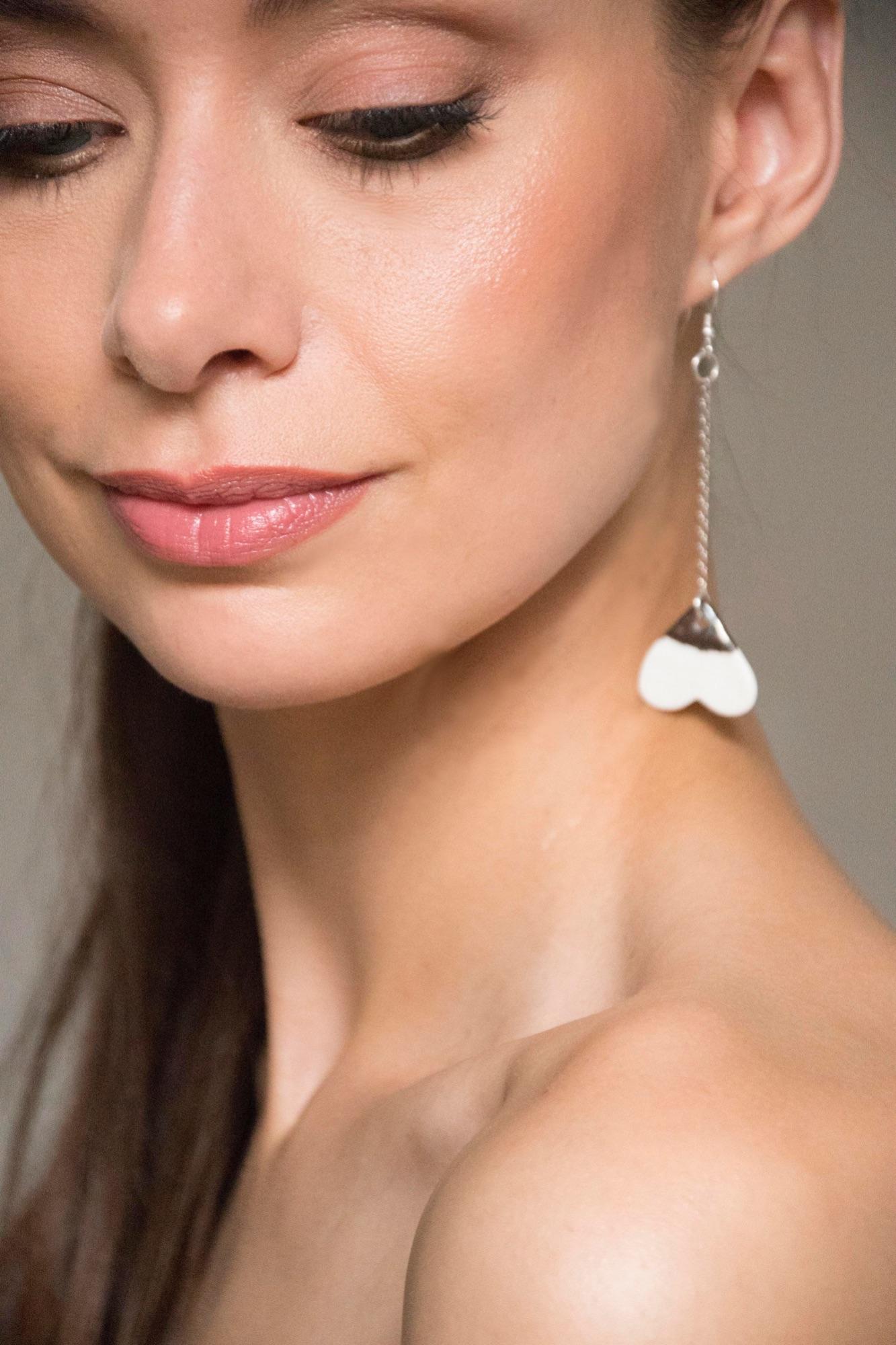 heart earrings, ceramic jewellery