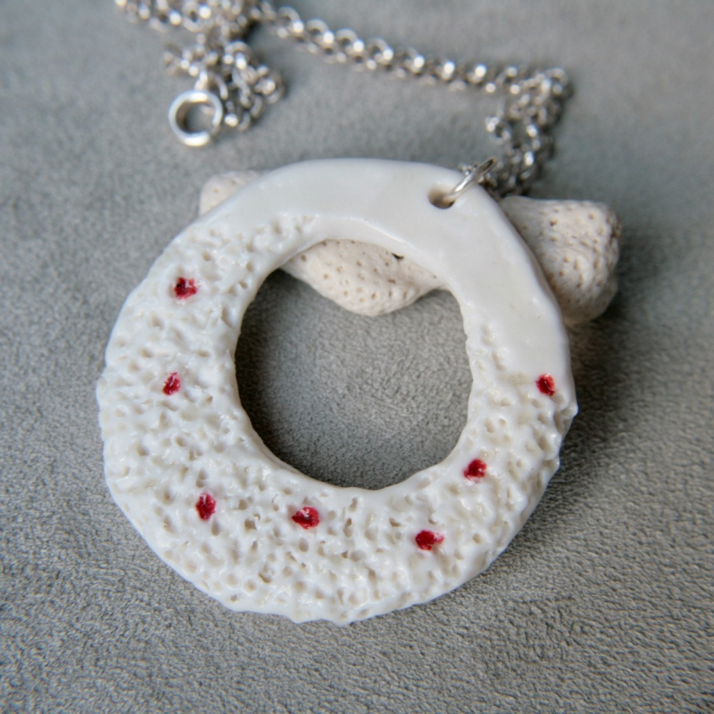 Organically shaped porcelain necklace
