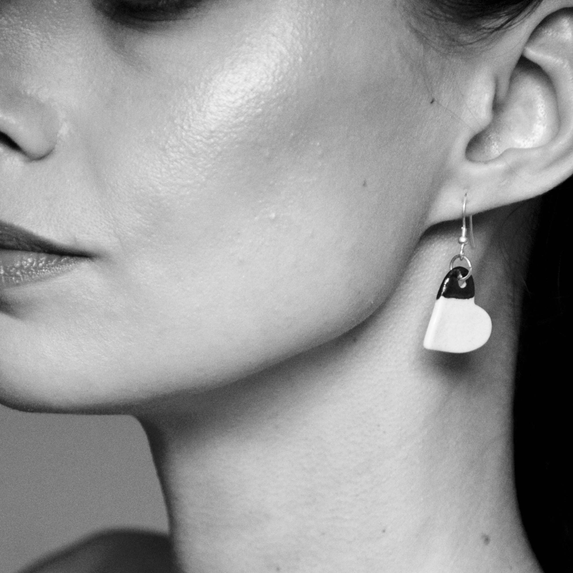 earrings in a shape of heart
