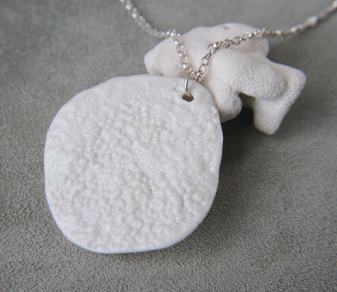 organically shaped ceramic necklace