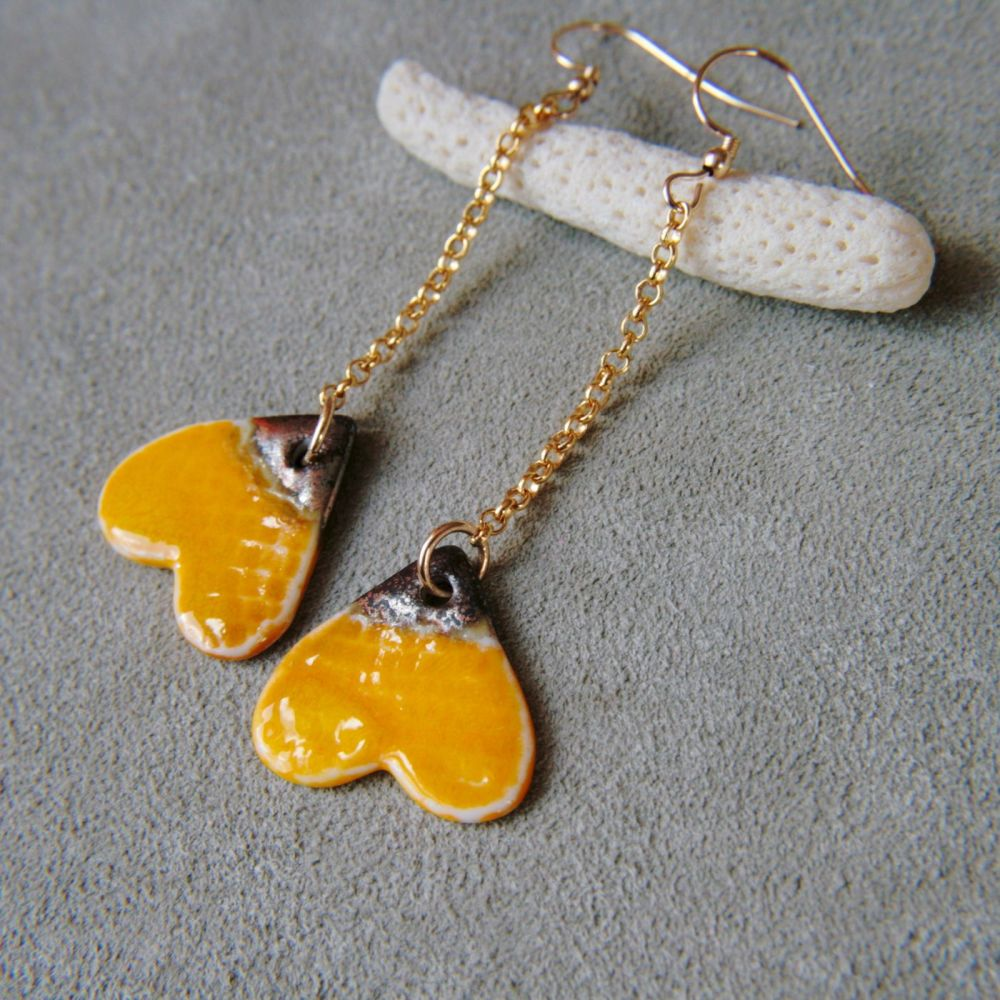 Yellow hearts, 14k gold earrings