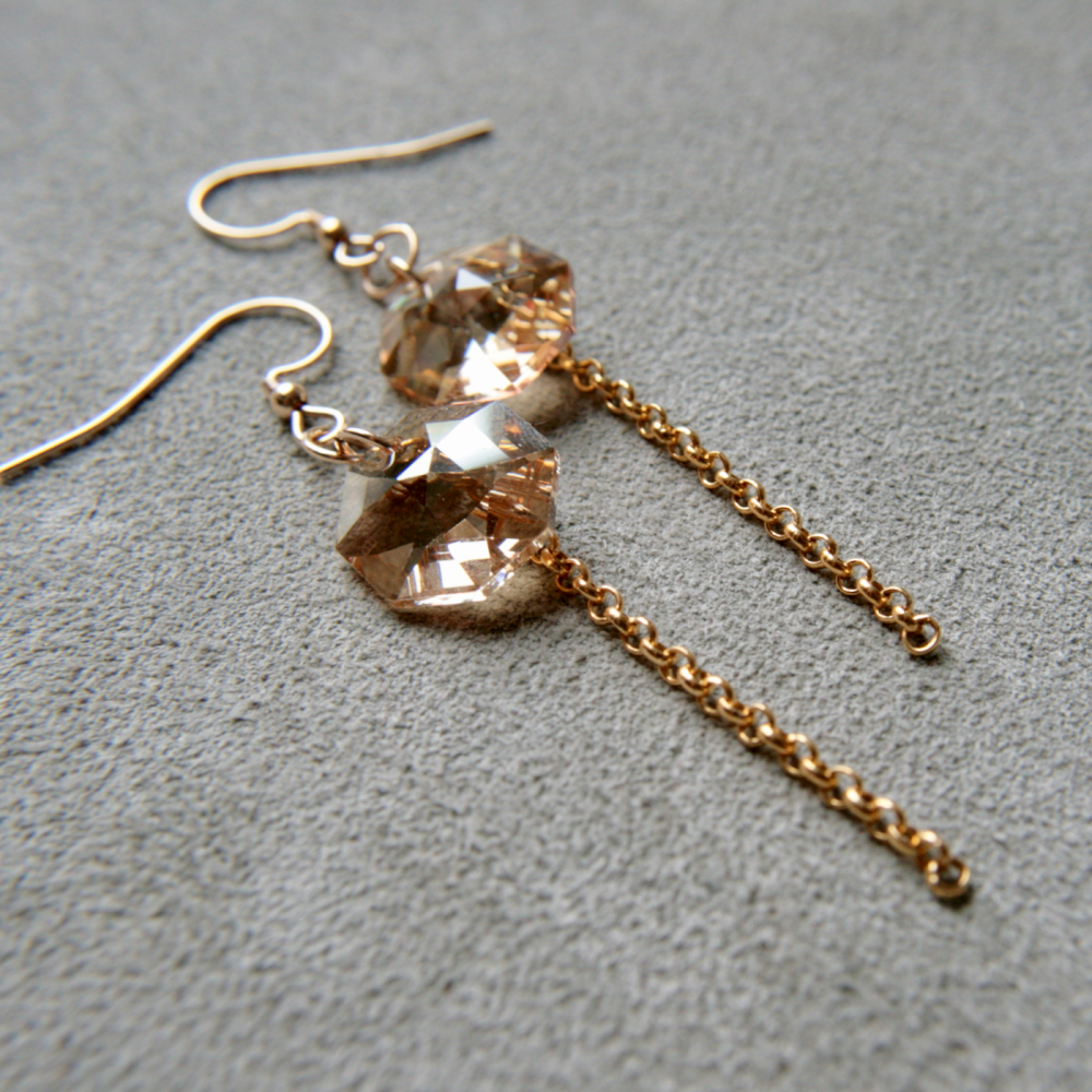 Swarovski octagons, 14k gold earrings