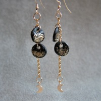 Two moons, celestial gold earrings