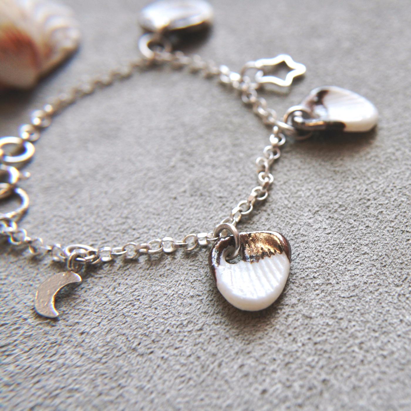 silver bracelet, charm bracelet