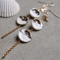 Dangle seashells - porcelain earrings