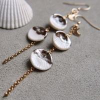 Dangle seashells - porcelain earrings