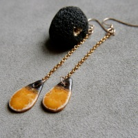 Yellow drops, 14k gold earrings