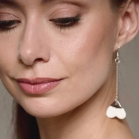 White hearts - porcelain earrings