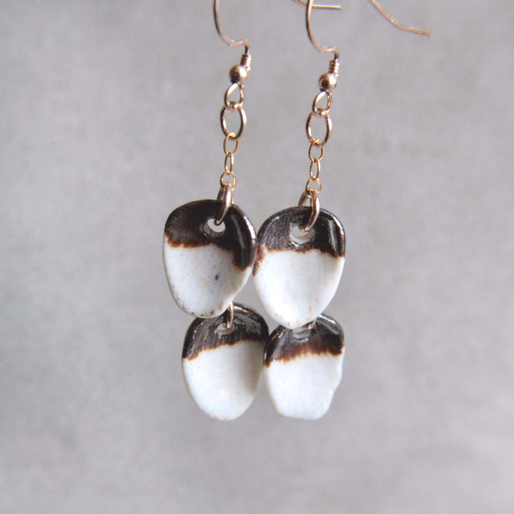 White seashells -  dangle earrings