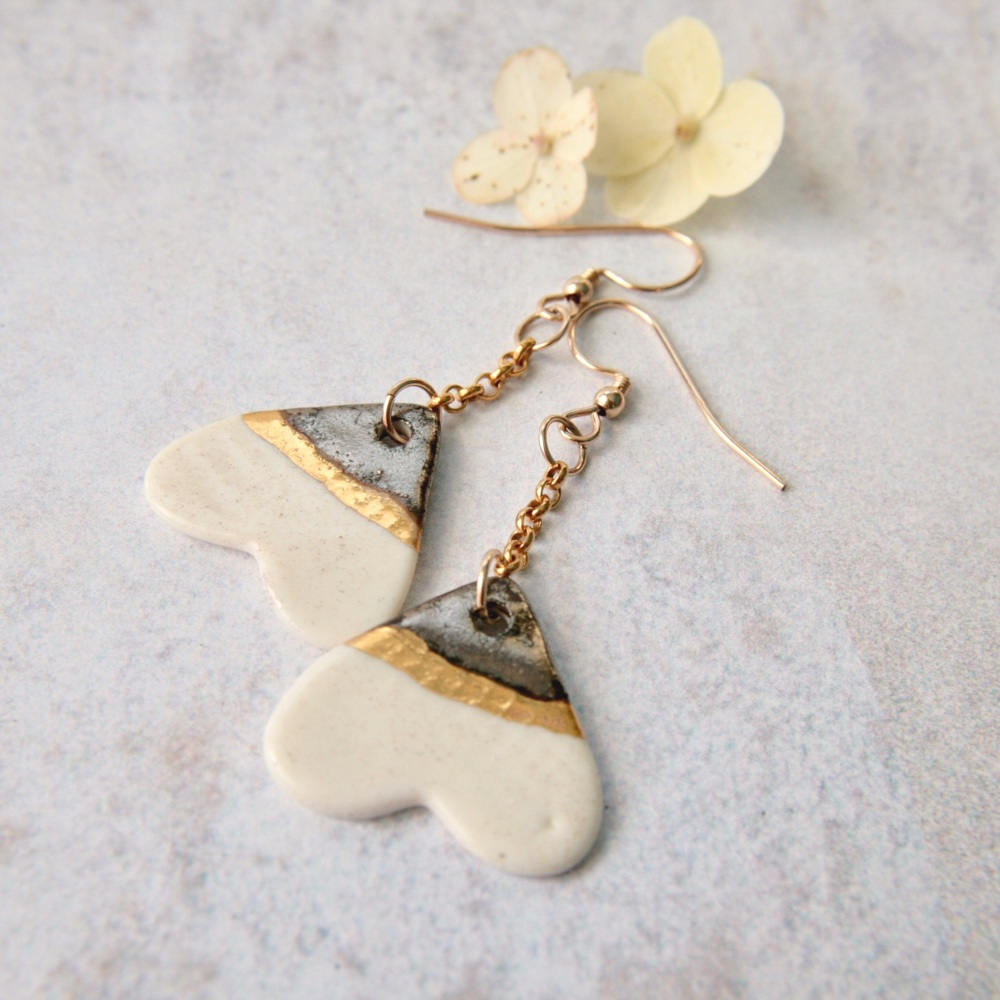 White hearts, 14k gold earrings