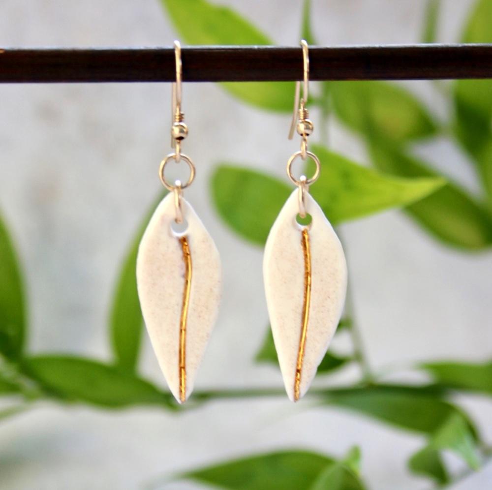 White teardrops, 14k gold earrings