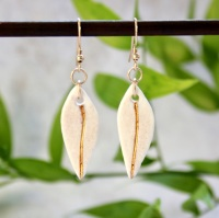 White teardrops, 14k gold earrings