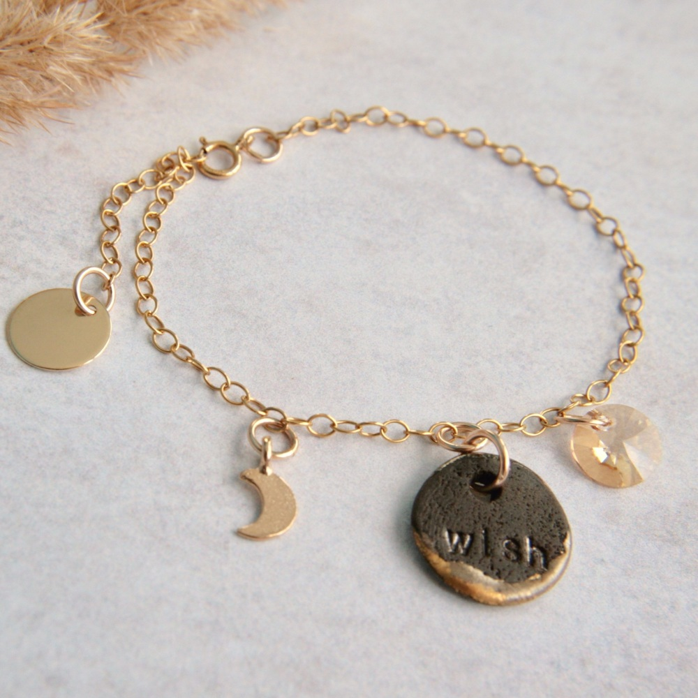 GOOD LUCK  bracelet with handmade porcelain charms