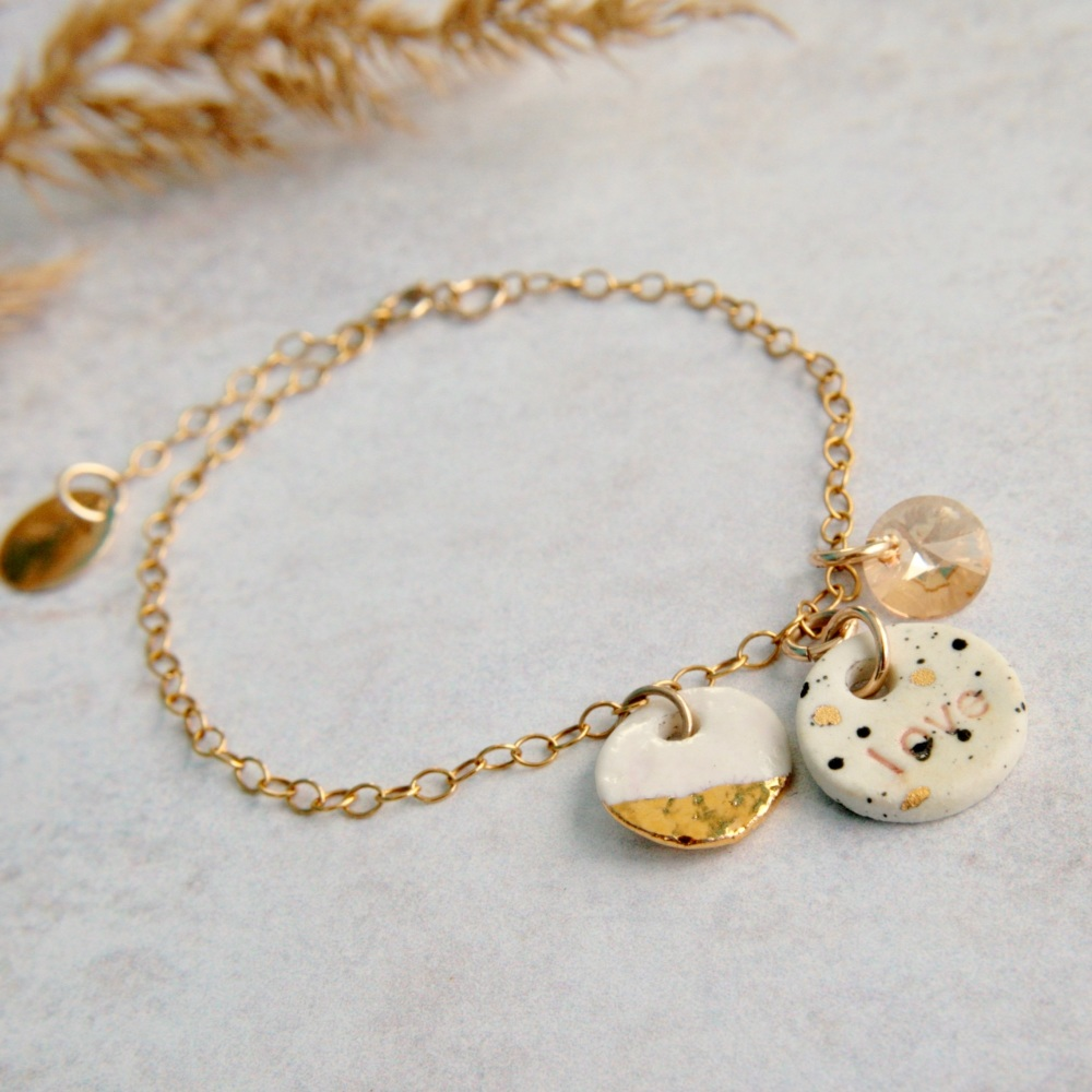 LOVE -  bracelet with handmade porcelain charms