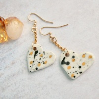 White hearts with dots, 14k gold earrings