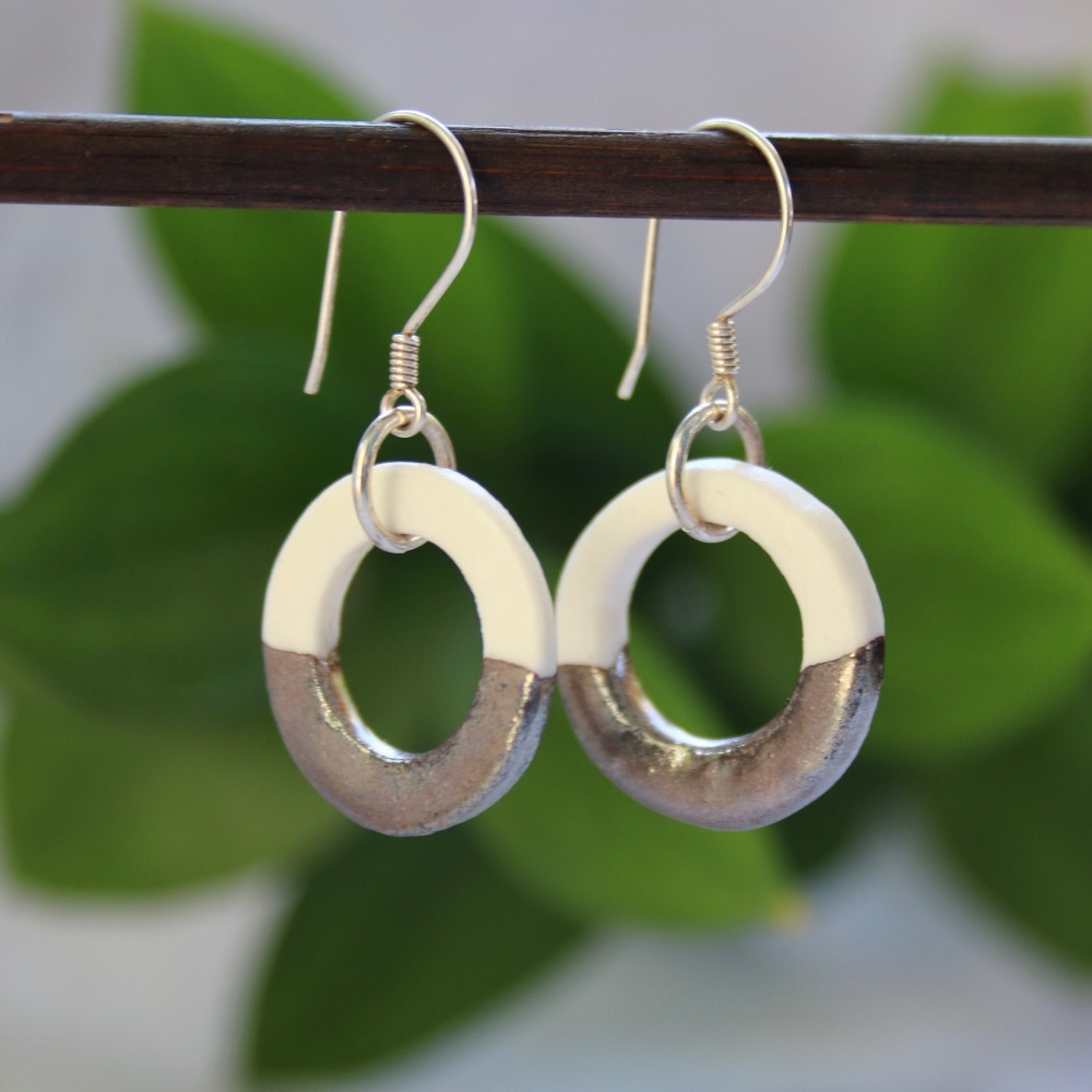 Hoop earrings from porcelain