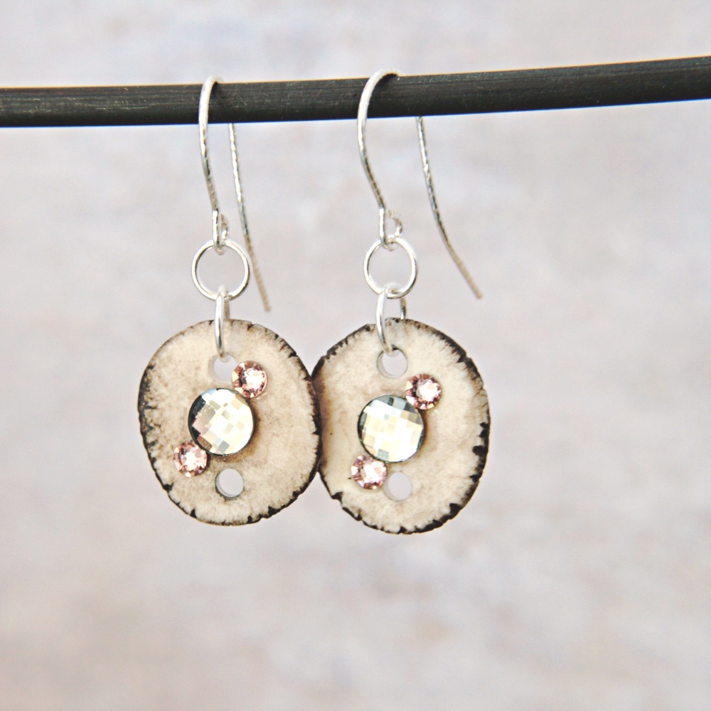 Crystal-embellished porcelain discs  - handmade earrings