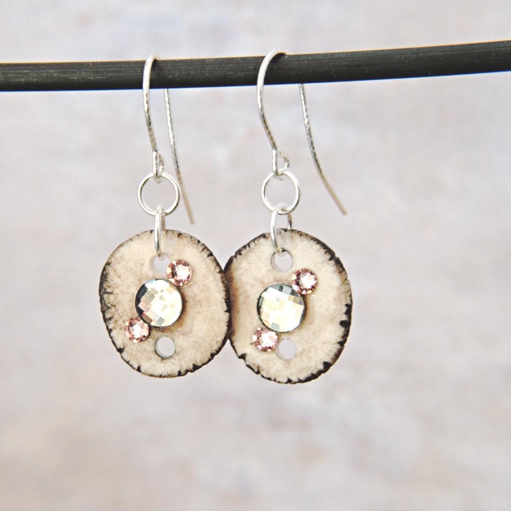 Crystal-embellished porcelain discs  - handmade earrings