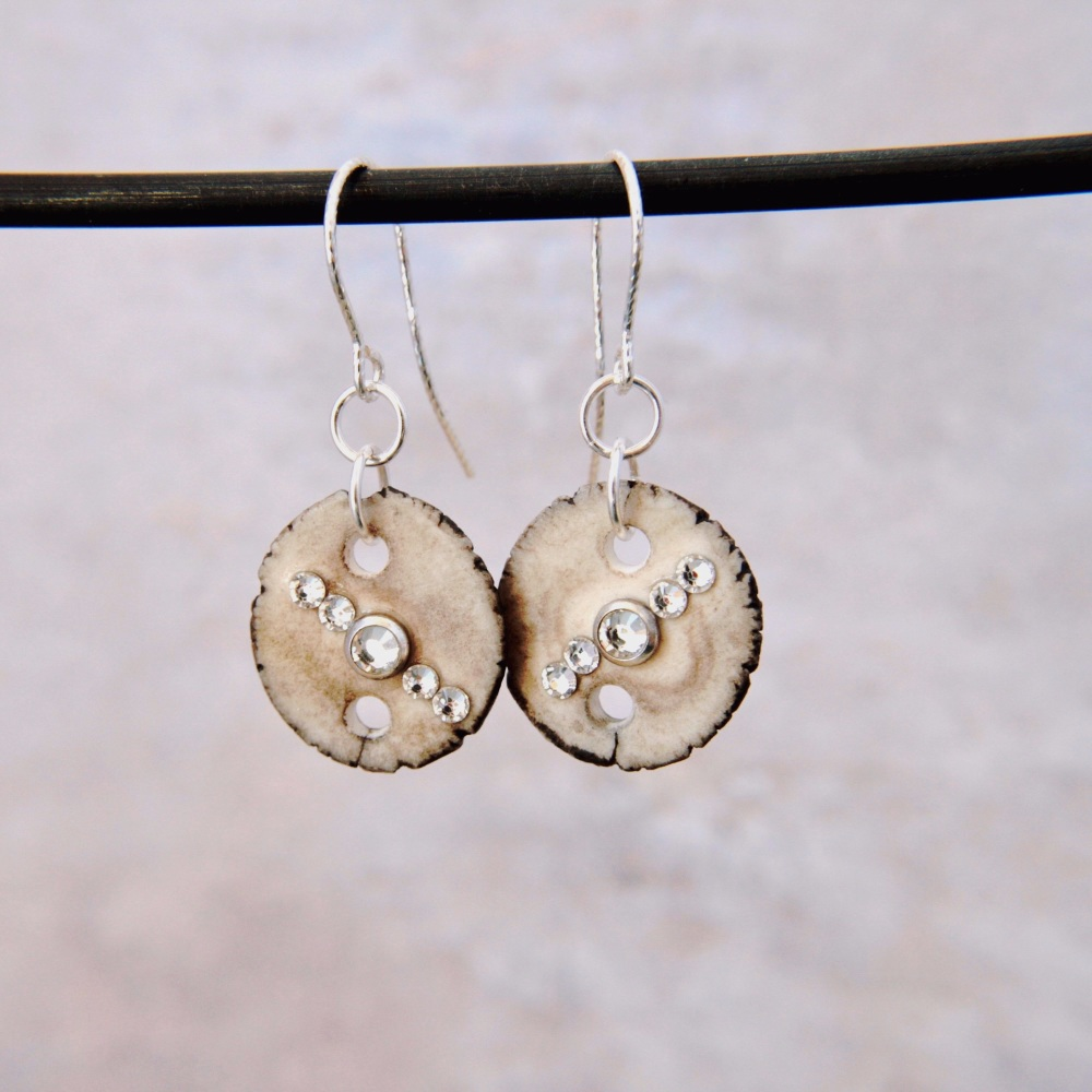 Embellished  with crystals porcelain discs  - handmade earrings