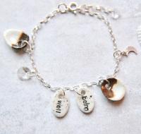 Wellbeing  charm bracelet - sterling silver