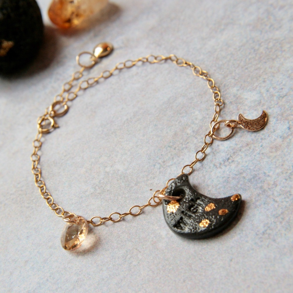 14k gold bracelet with moon charm, decorella handmade jewellery