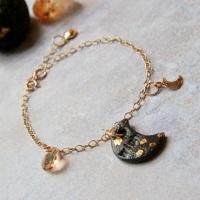 14k gold bracelet with moon charm, decorella handmade jewellery