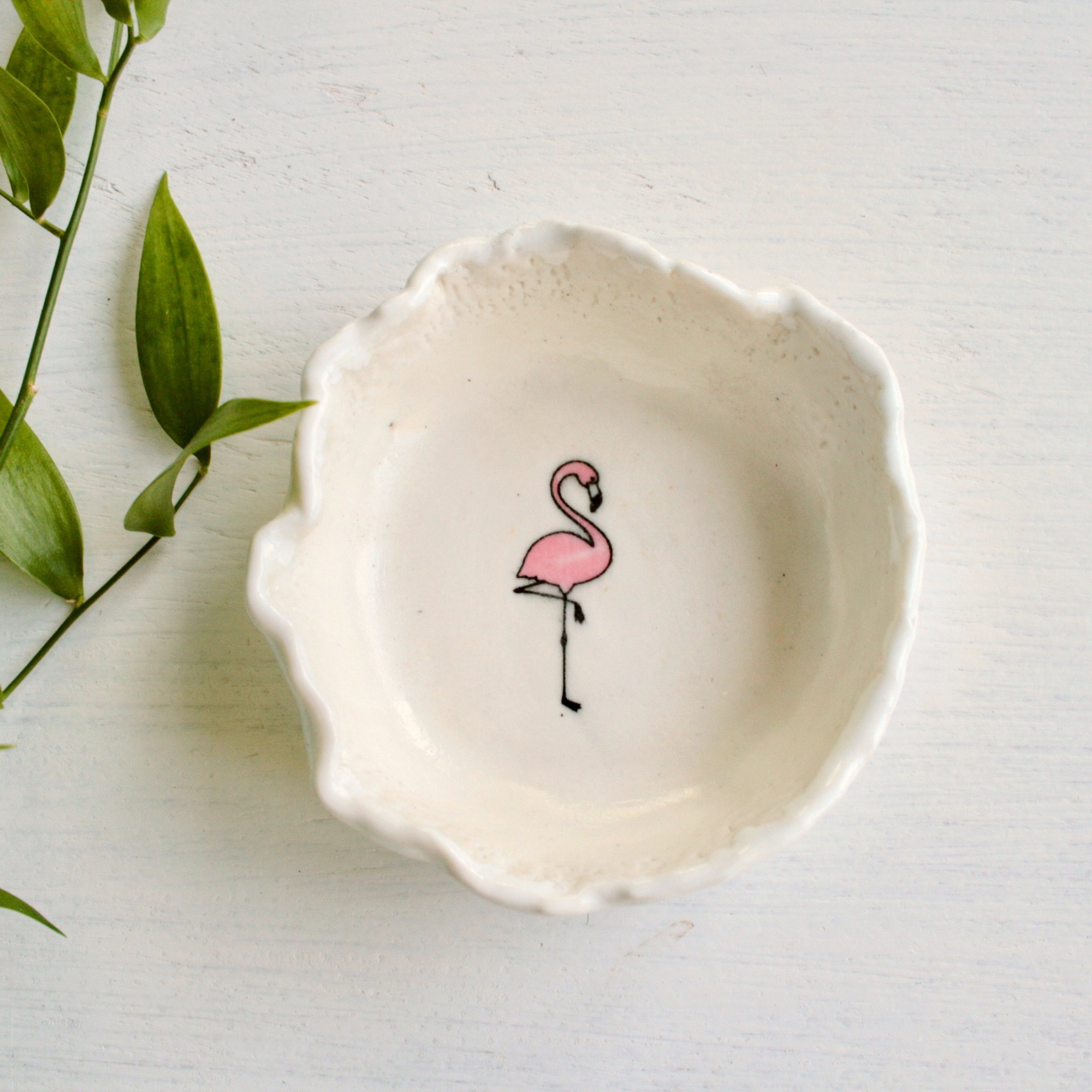 ceramic dish with flamingo design