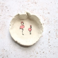 2 pink flamingoes -  trinket dish, for your rings, earrings and delicate chains.