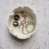 2 flamingoes -  trinket dish, for your rings, earrings and delicate chains
