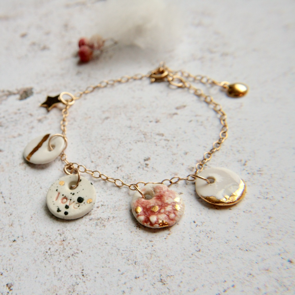LOVE -  bracelet with handmade porcelain charms 02