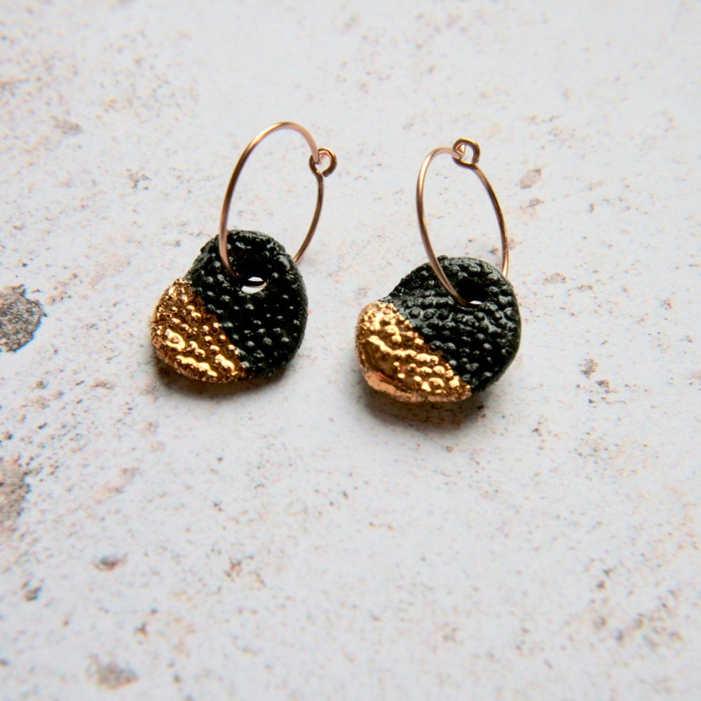 Gold glitter disc earrings  - small