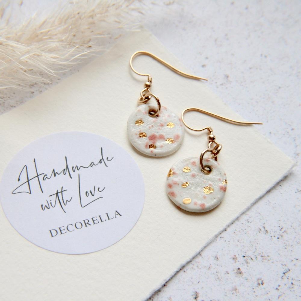 Round drop 14k gold earrings