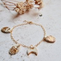 14k gold chain bracelet with moon charm and real sand