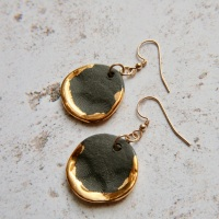 Liquid gold disc earrings - black & gold