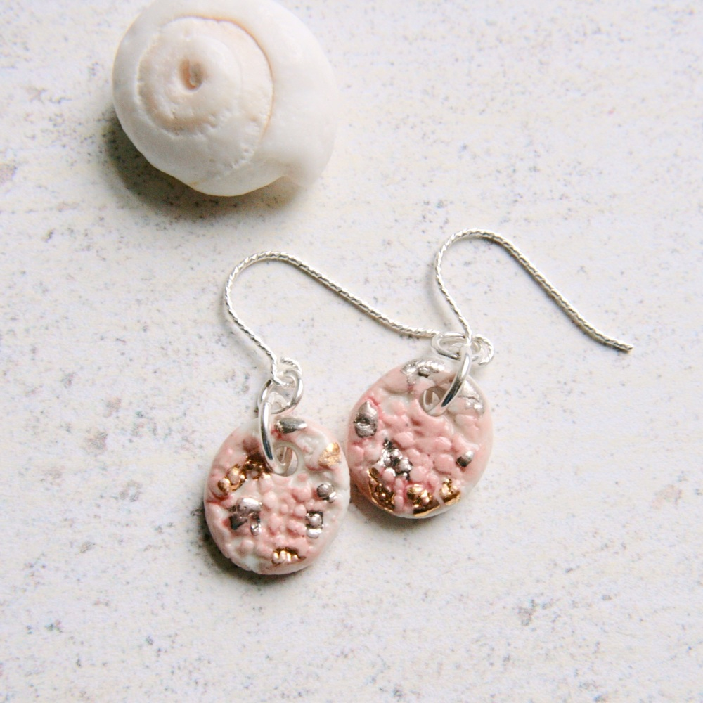 Small and cute porcelain and silver earrings