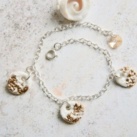 Sterling silver bracelet with gold charms -  perfect for the summer!