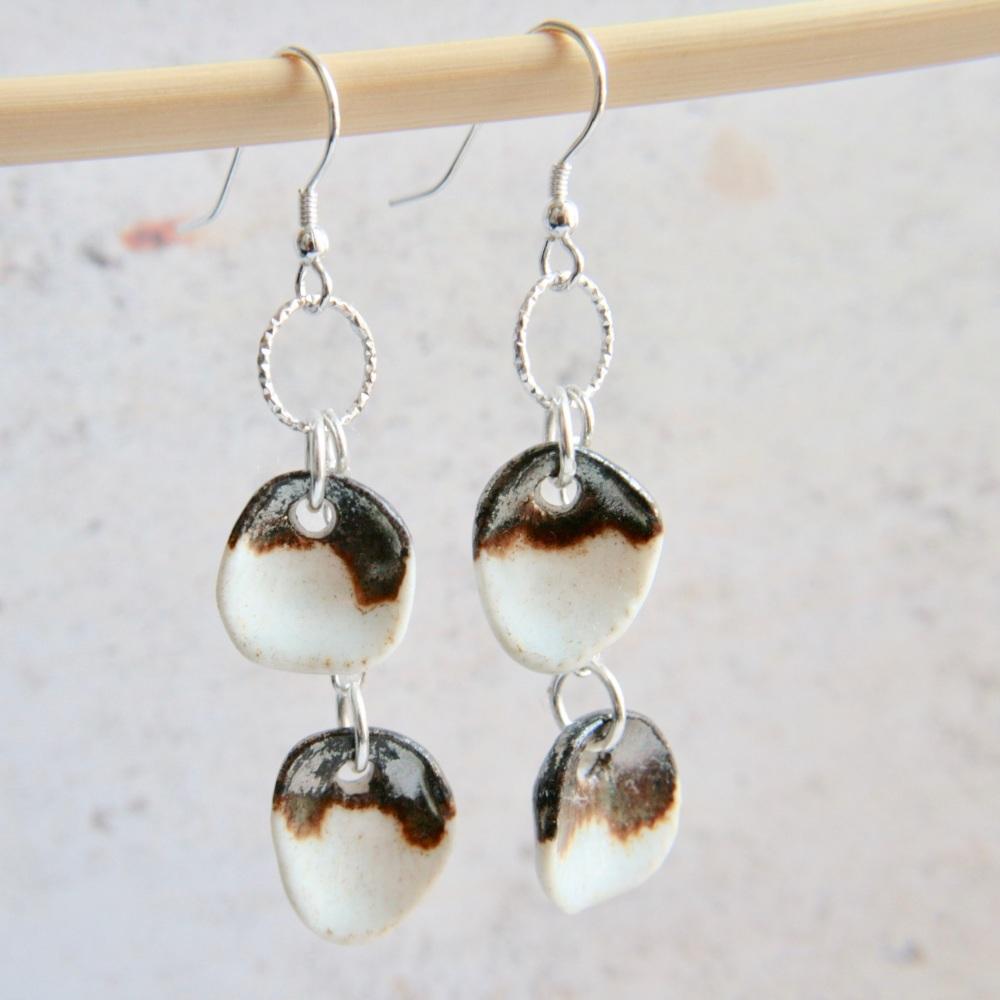White seashells -  cute dangle porcelain earrings