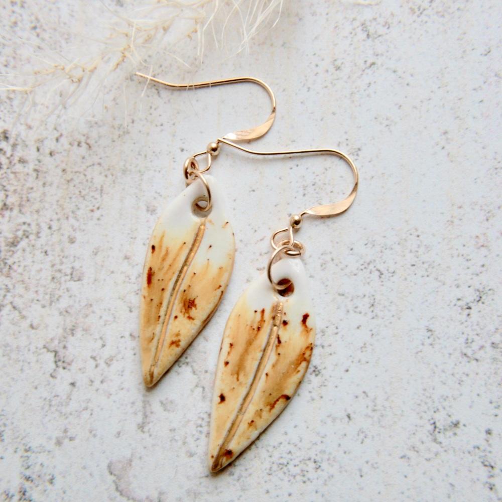 Mustard teardrops - porcelain earrings