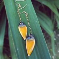 Yellow teardrops, 14k gold earrings
