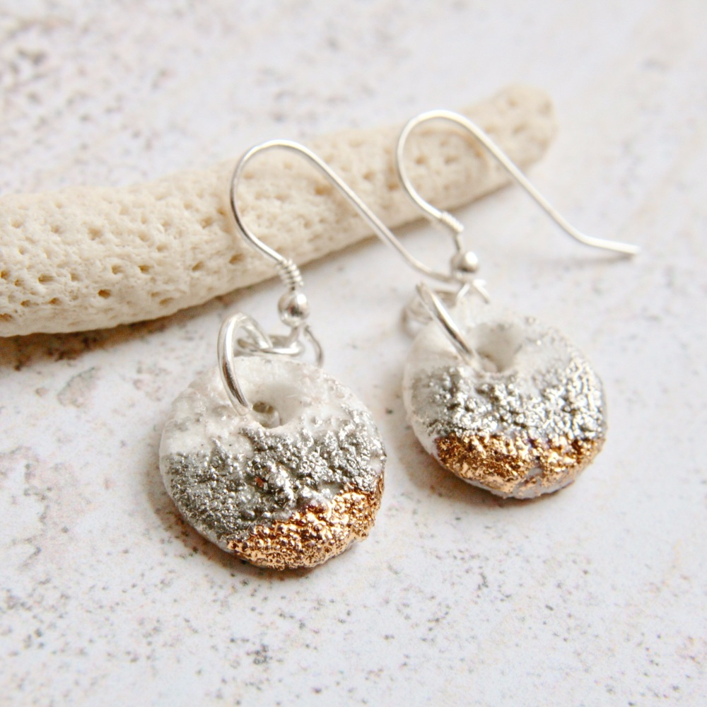 Porcelain earrings. Organic platinum and gold texture.