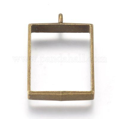 Chunky Square Open Backed Bezel | Antique Bronze