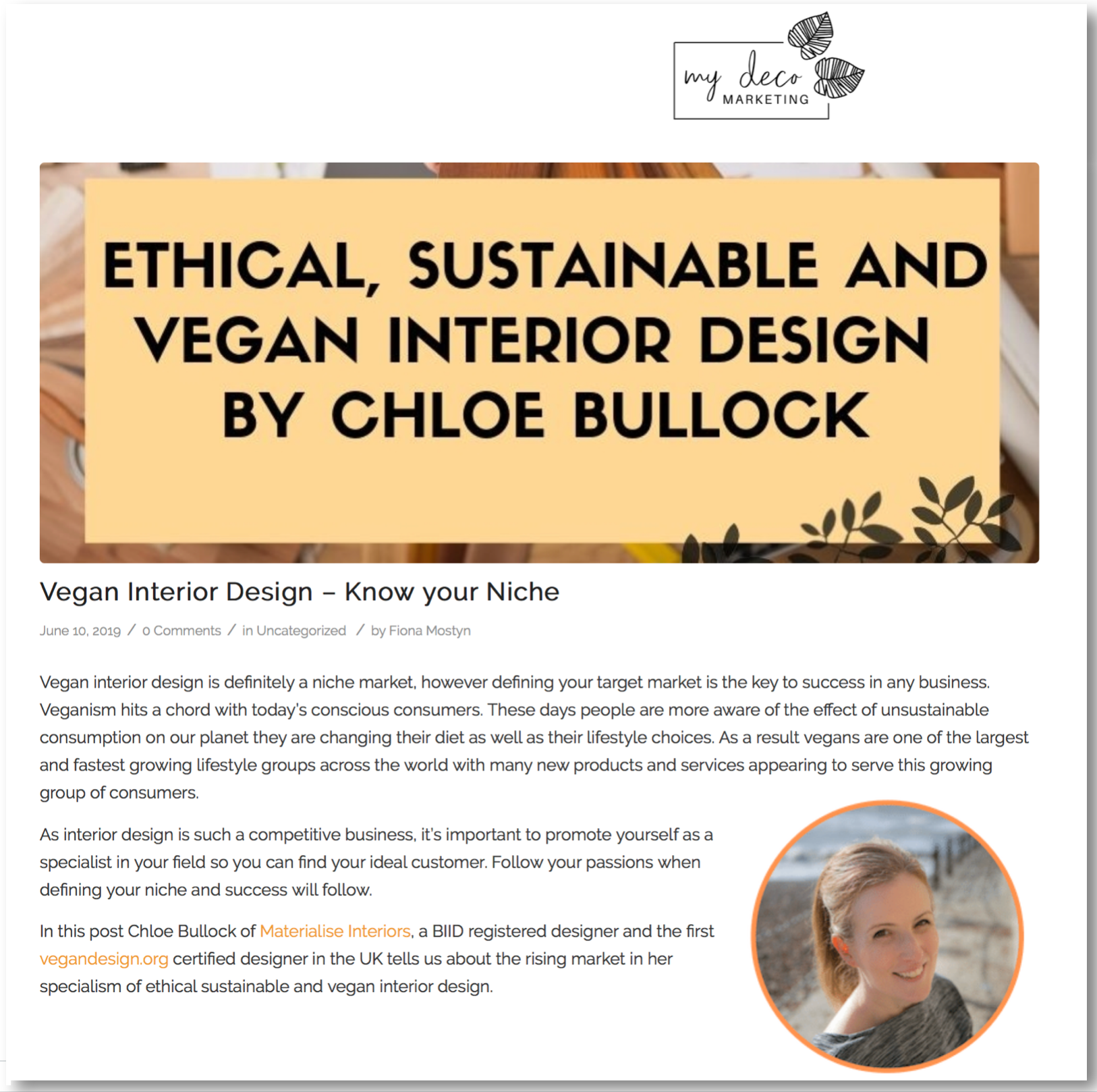 My Deco Marketing platform 'Ethical, sustainable and vegan interior design' – June 2019