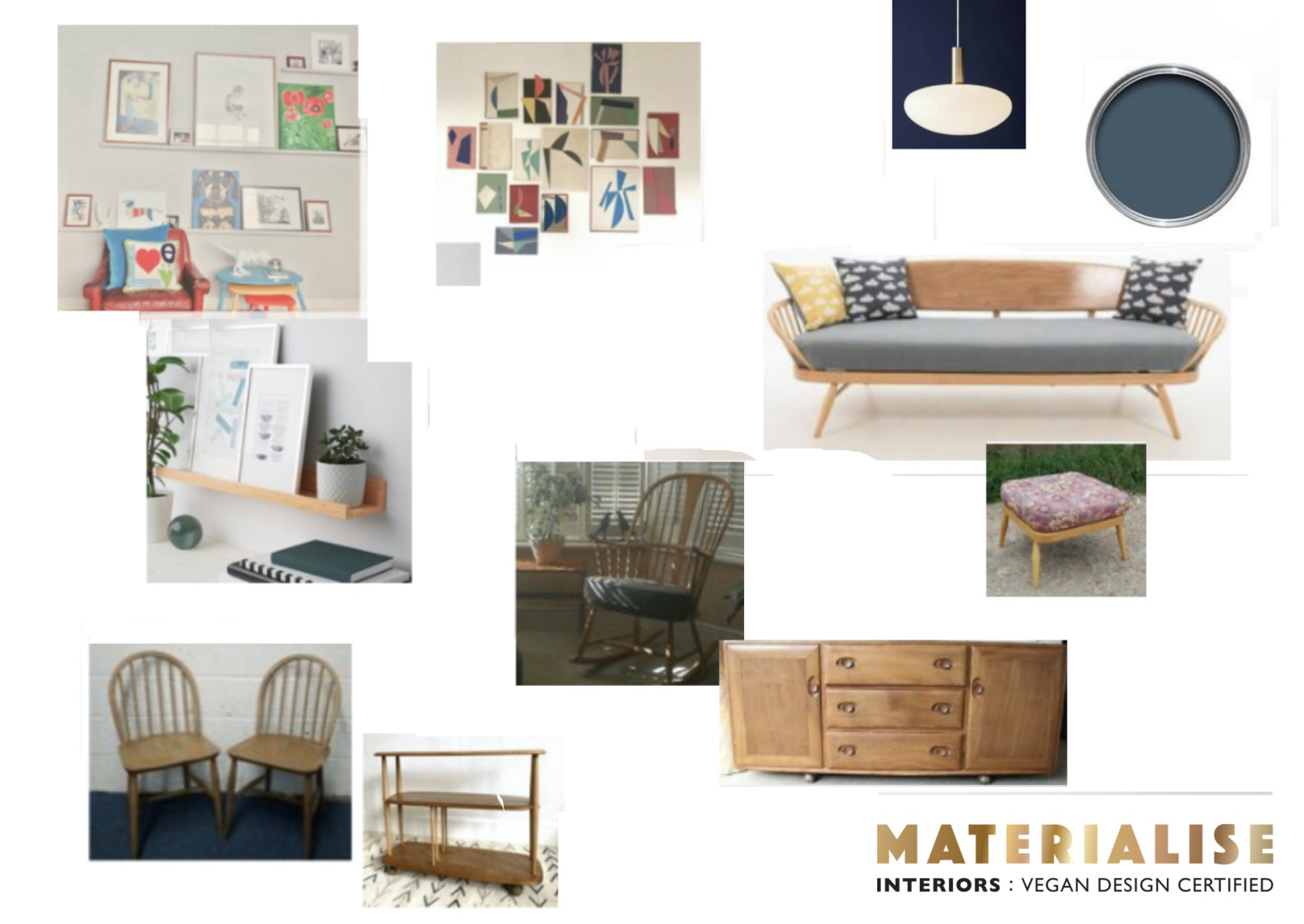 Mood Board  living room sustainable and cruelty free client