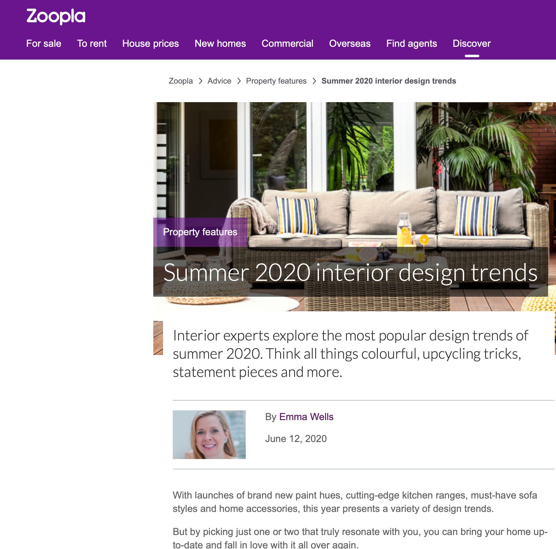 Zoopla website June  2020 Kelly Hoppen