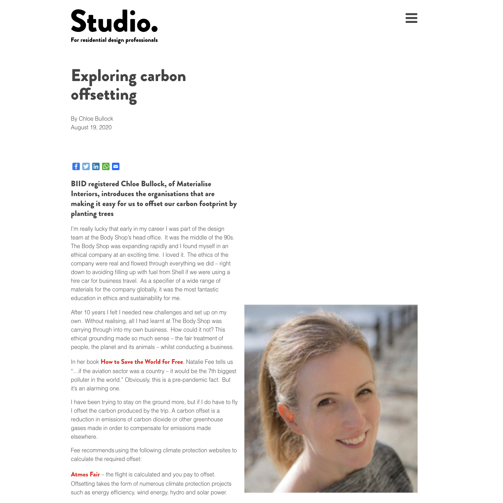 Studio magazine article Chloe Bullock