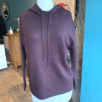Knitted Burgundy Hoodie